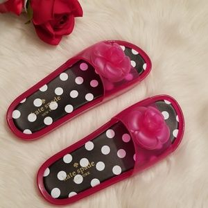 🆕️KATE SPADE polka dot pink jelly pink slippers 7
